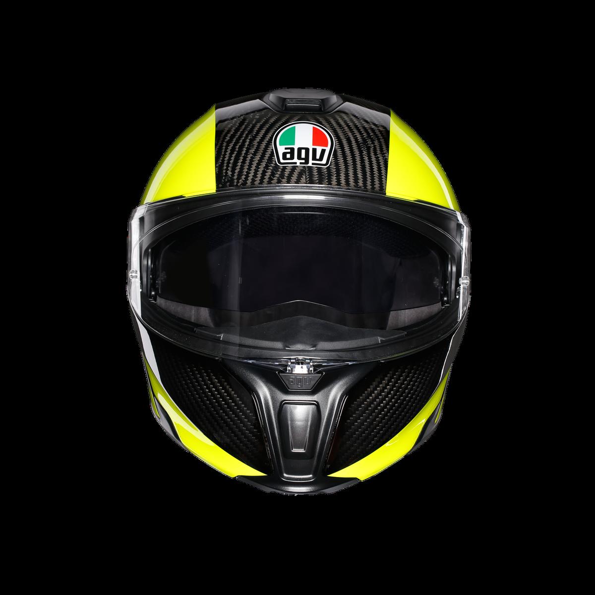 Agv Sport Modular Hi Vis Carbon Flo Yellow Flip Front Helmets Free Uk Delivery