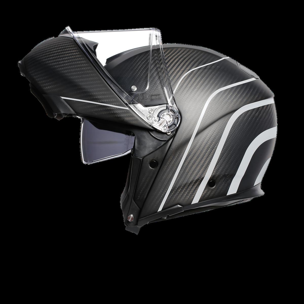Agv Sport Modular Refractive Carbon Silver Flip Front Helmets Free Uk Delivery
