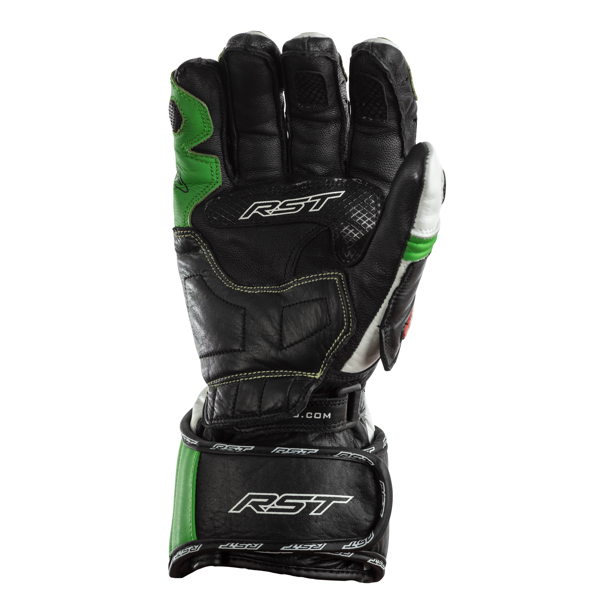RST TRACTECH EVO Kawasaki Green Motorbike CE Leather Sports Gloves