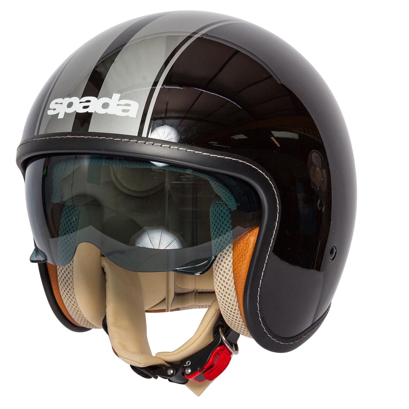 Spada Raze Motorcycle Motorbike Open Face Sun Visor Helmet Gloss Black