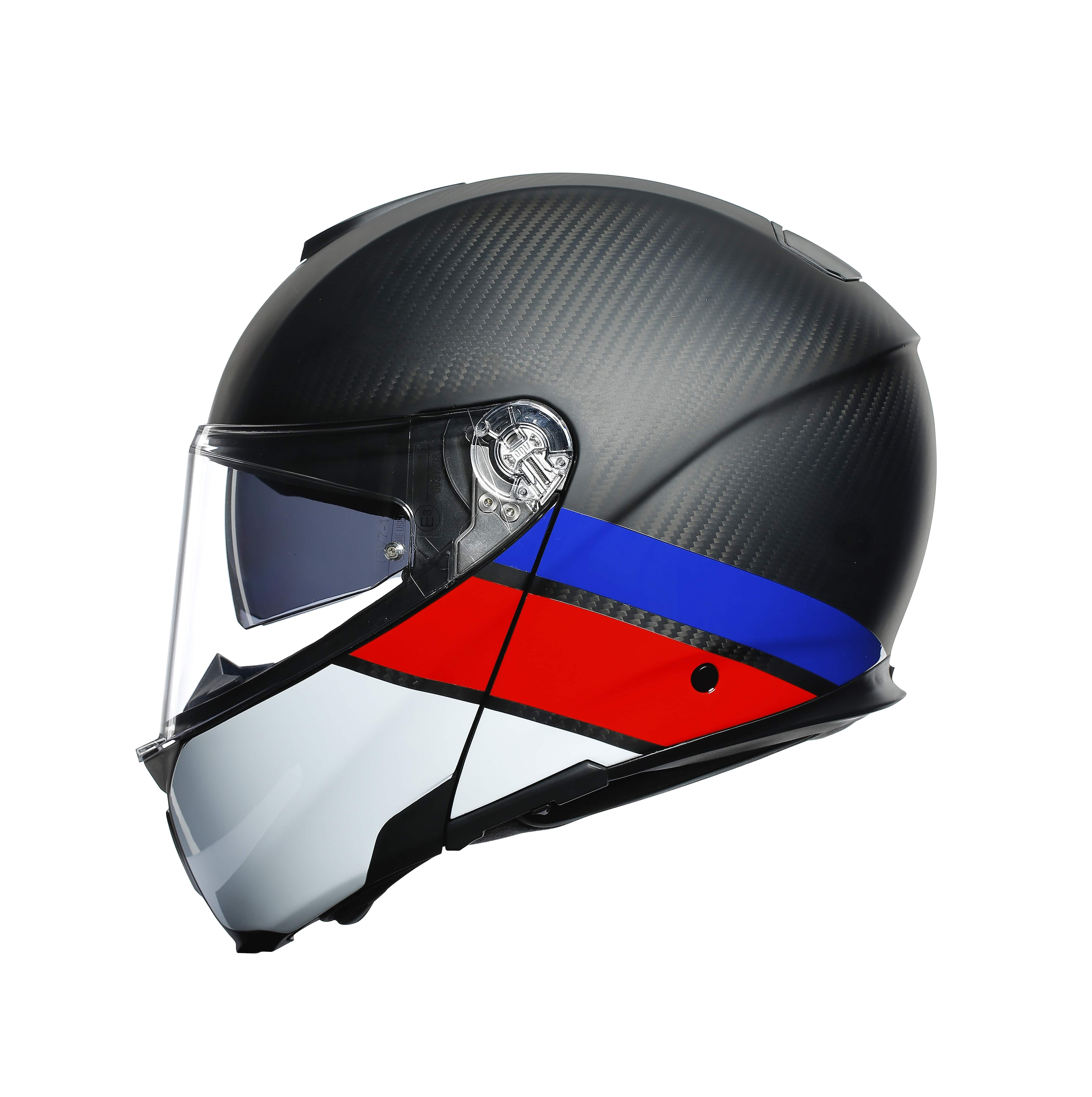 Agv Sport Modular Layer Carbon Red Blue Agv Flip Front Helmets Free Uk Delivery