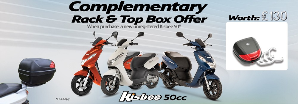 Peugeot Kisbee 50 Complimentary Top Box and Rack Offer