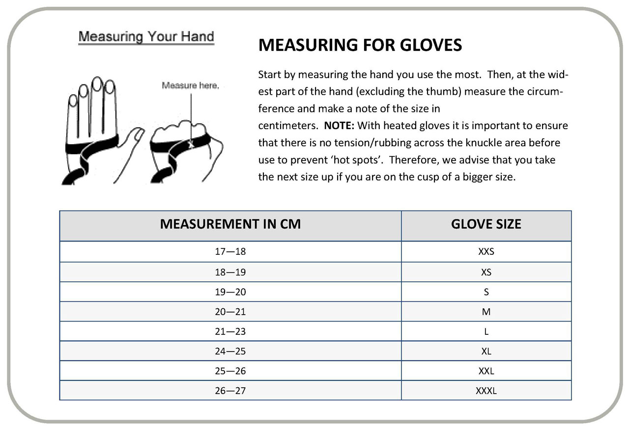 gerbing xr12 gloves size guide chart