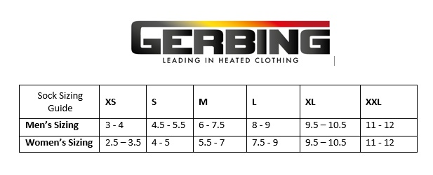 gerbing 7v heated electric socks batteries charger sizing guide for gerbing socks