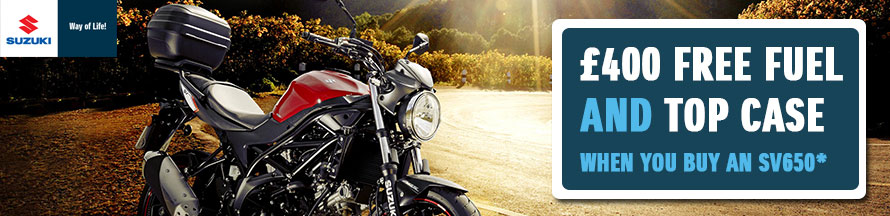 Suzuki SV650 Free Fuel and Top Box Promotion