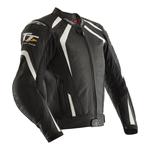 RST Isle Of Man TT Grandstand CE Leather Jacket - Black / White