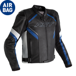 RST Sabre CE Airbag Leather Jacket - Black/White/Blue