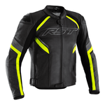 RST Sabre CE Leather Jacket - Black / Grey / Flo Yellow