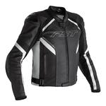 RST Sabre CE Leather Jacket - Black / White