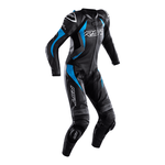 RST Tractech Evo 4 Ladies Leather Motorcycle Suit - Black / Grey / Sky Blue