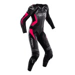 RST Tractech Evo 4 Ladies Leather Motorcycle Suit - Black / Pink / Grey