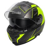 Spada Orion Flip Front Helmet - Whip Graphic - Matt Black/Flo Yellow | Spada Helmets at Two Wheel Centre | Free UK Delivery