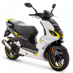 Peugeot Speedfight 4 50cc - Icy White and Caribbean Yellow | Two Wheel Centre | Peugeot Scooter Dealers, Mansfield, Notts, UK