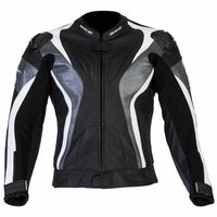 Spada Curve Leather Jacket Grey White