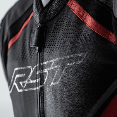 RST Sabre CE Airbag Leather Jacket - Black/White/Red
