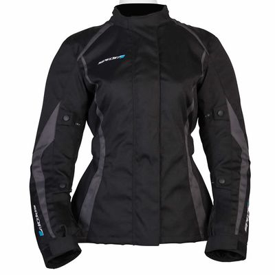 Spada Planet Ladies Jacket Black Grey Front View